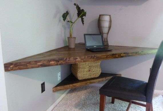 Floating Corner Desk Was Custom Made From All Wood Stained Using A Dark Walnut And Varnished Wi Floating Shelves Diy Floating Corner Shelves Floating Shelves