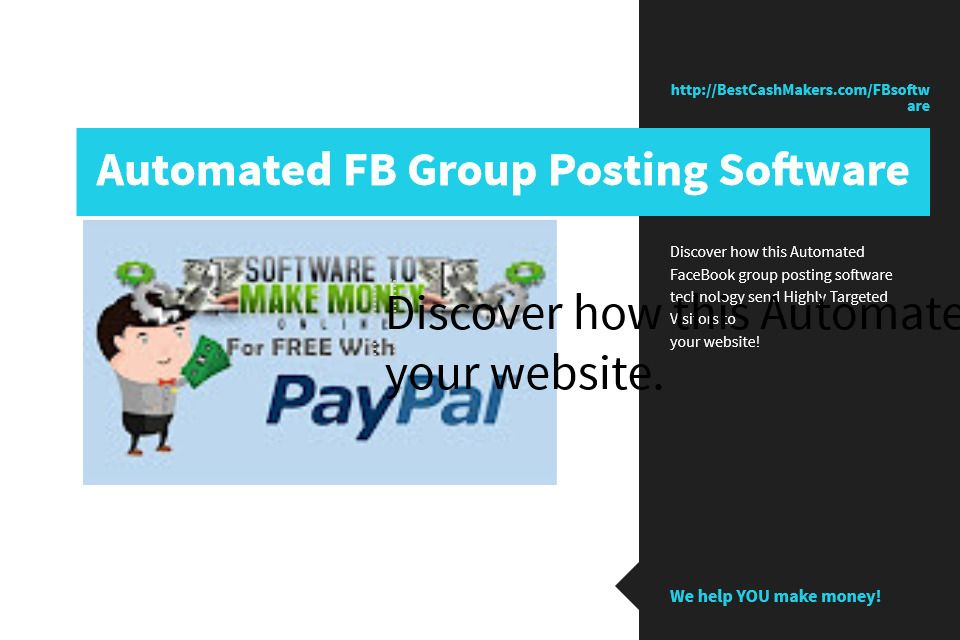 Discover how this Automated FaceBook group posting software technology send Highly Targeted Visitors to   your website...all for Free!    #workfromhome #makemoneyonline #internetmarketing #makemoney #money #blogging