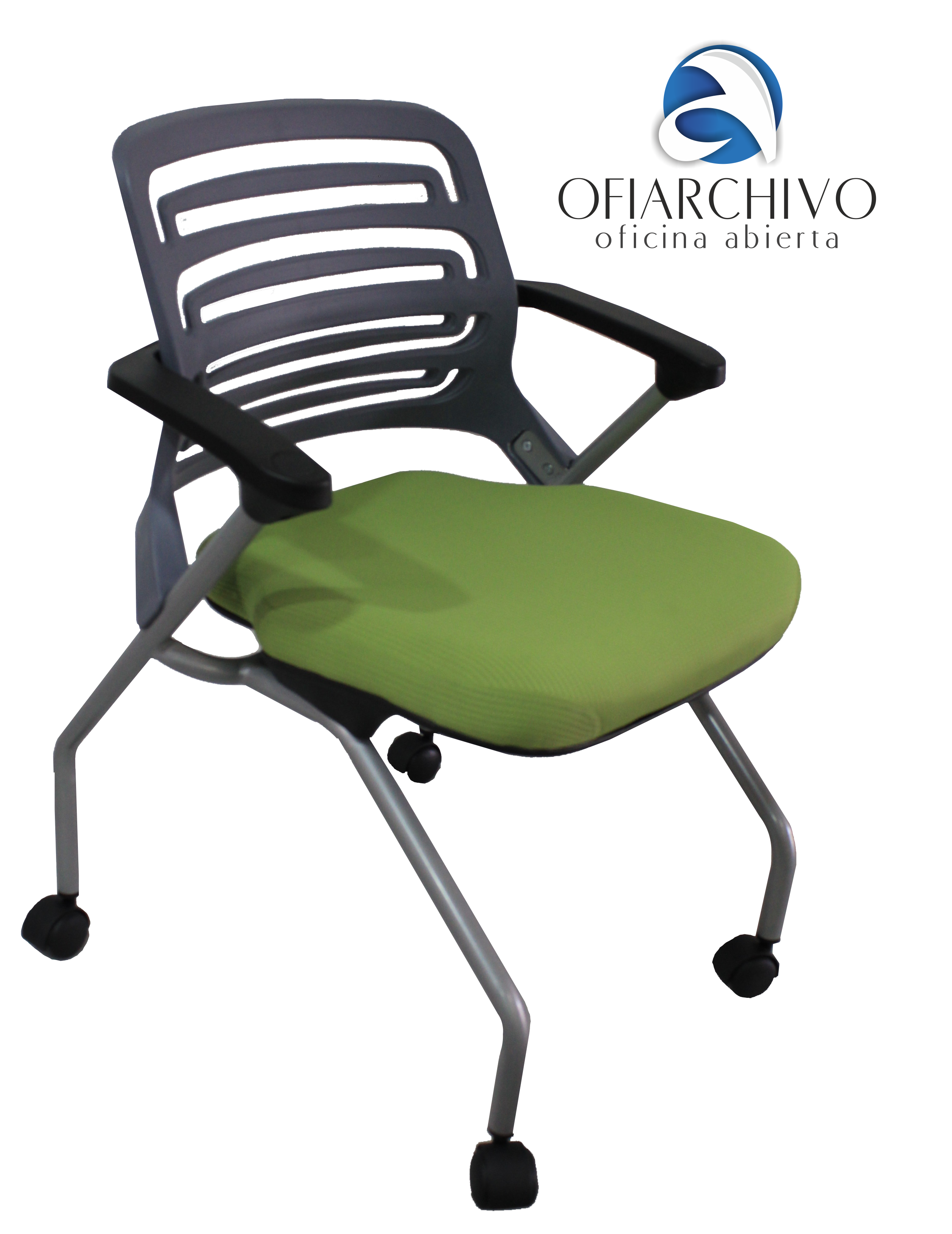 Silla interlocutora con rodachines verde sillas for Silla interlocutora