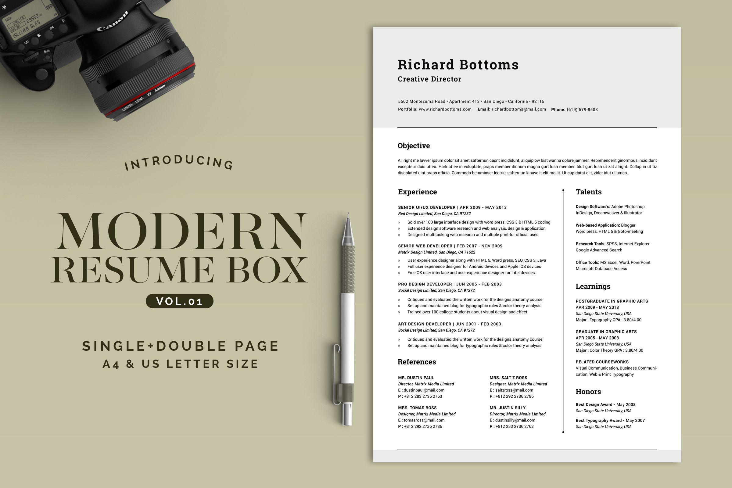 All in One Modern Resume Box V.1 | Modern resume and Design packaging