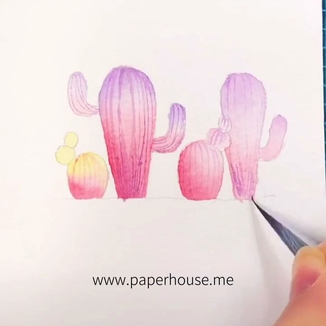"""Pink Cactus Watercolor Painting�www.paperhouse.me�Save $3 with code """"PIN3""""�Paperhouse Stationery"""