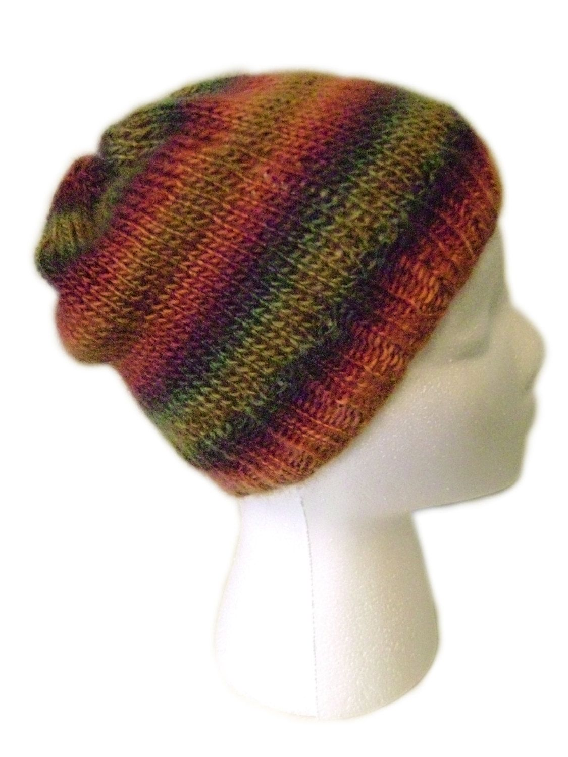 Girls Slouchy Beanie Hat Handmade Knit Multi-colored Super-soft Stylish - pinned by pin4etsy.com