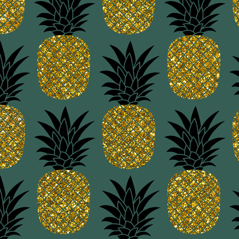 Gold Glitter Pineapples Gold And Black On Jungle Green