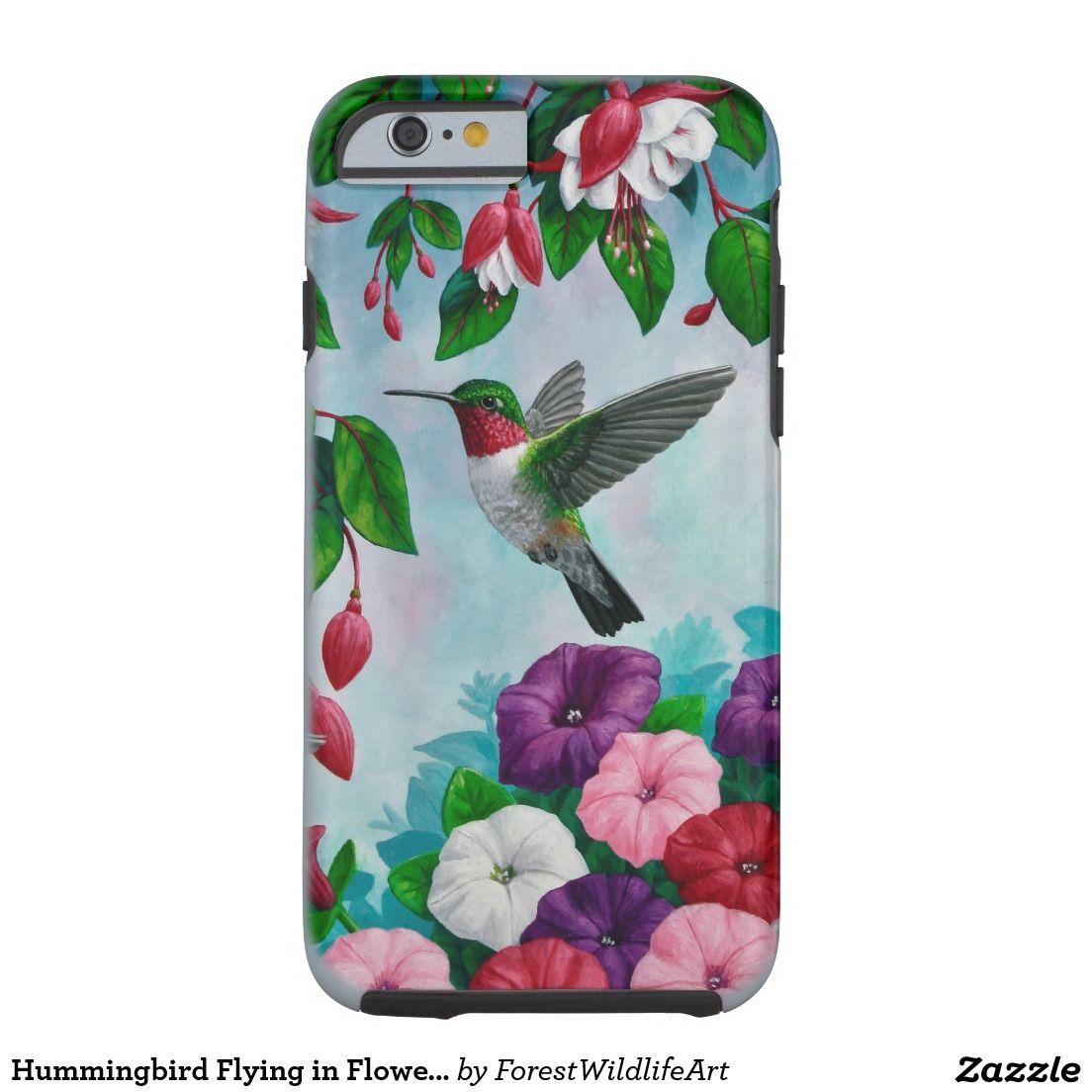 Hummingbird Flying in Flower Garden Tough iPhone 6 Case