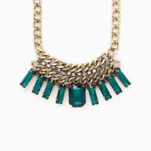 Warrior Emerald Geo Bib Chain Necklace