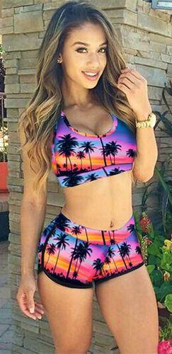 d5e7e2cf737ea Pool Party Black Pink Blue Orange Red Palm Tree Sunset Sleeveless Scoop  Neck Racerback Boyshort Two Piece Bikini Swimsuit