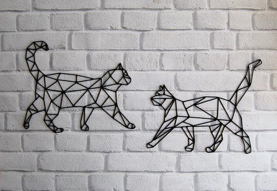 Cat Wall Hanging, Geometric Cat, Cat gift idea, Geometric Cat Wall art, Metal Cat Decor, Wire Wall art, Cats wall decor, black cat, two cats is part of Geometric cat - This item is available in primary color black  Modern geometric and minimalist decor for cat & animal lovers  The perfect gift for a friend or a special someone  Set of 2 handmade metal cats  This metal painting made of wire to hang on the wall or put on a shelf  Each piece is cut and welded by