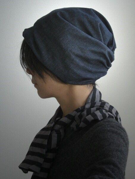 ターバンな帽子 デニム ネイビー 帽子 ターバン 帽子 型紙