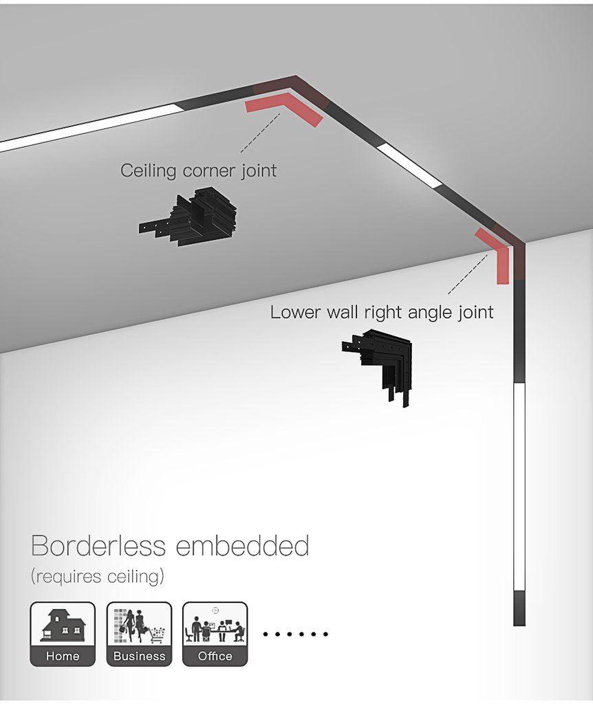 1m Aluminum Ceiling Embedded Pendant Surface Mounted 3 Install Methods Usky Led Track Lighting Kits Led Track Lighting Track Lighting