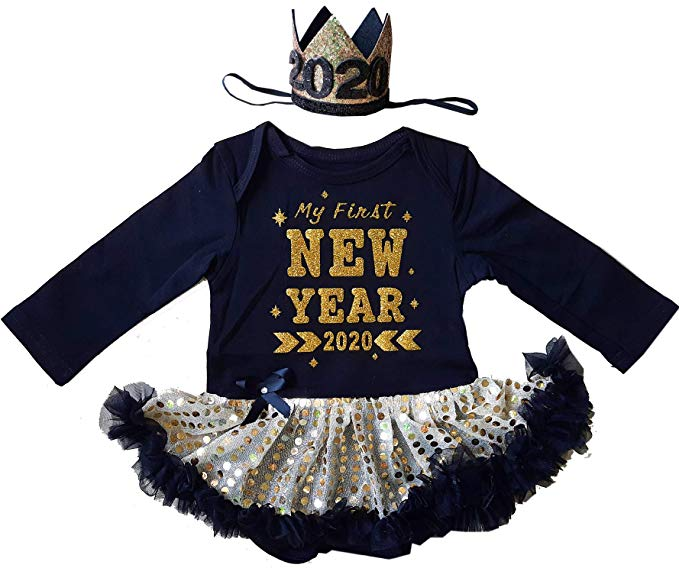 Baby Girl 2020 New Year Tutu Dress Outfit My 1st New Year Romper Headband Tutu Dress 3pcs Clothes Set Bspsss10 Edu In