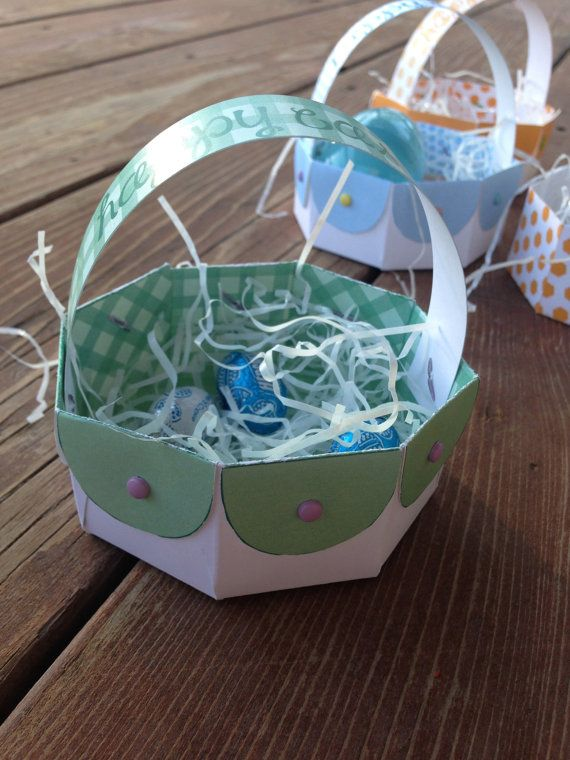 Instant download diy printable easter basket gift box paper basket these little baskets are easy to make makes a perfect and quick easter gift for negle Images