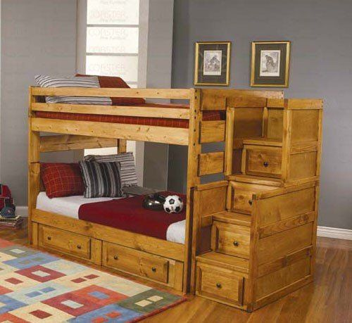 Full Size Bunk Bed With Stairway Chest In Amber Wash Finish 938 87