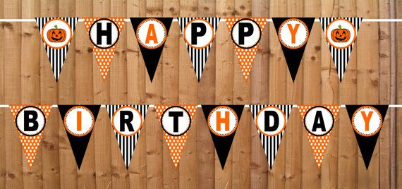 halloween pumpkin happy birthday banner instant by dbcelebrations - Happy Halloween Birthday