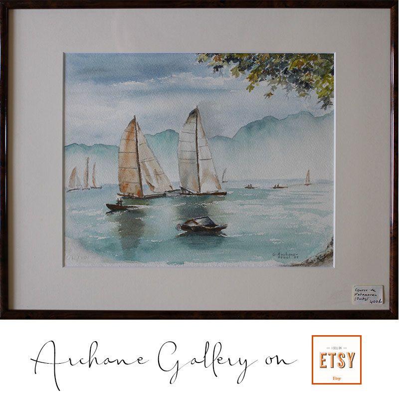 Course De Katamaran Peinture Aquarelle Aquarelle Et Painting
