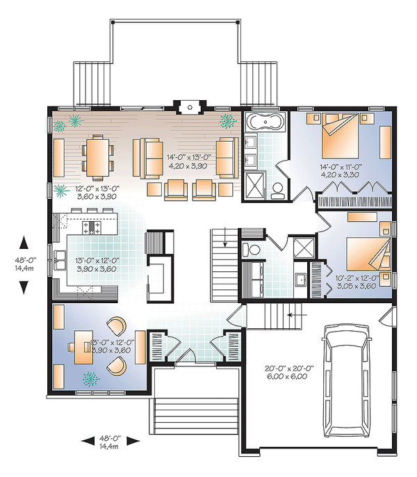 Ranch Style House Plan 2 Beds 2 Baths 1600 Sq Ft Plan 23 2623 Home Design Floor Plans House Plans Floor Plan Design