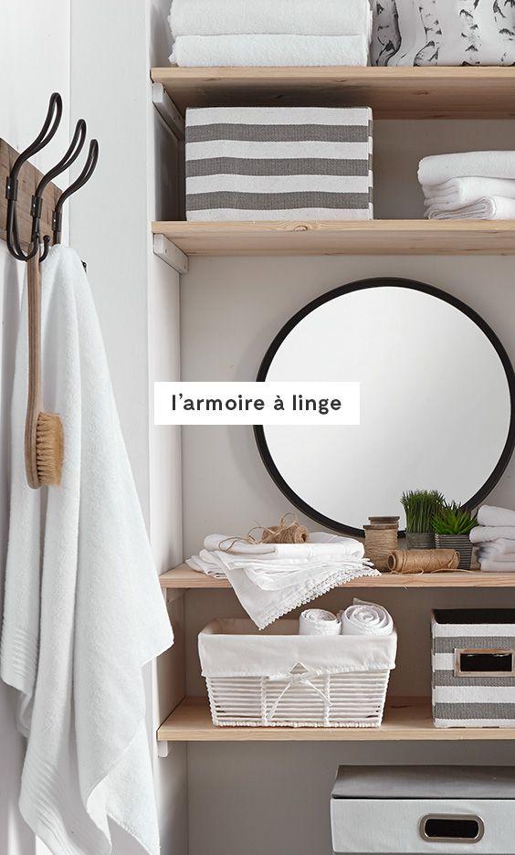 Armoire à linge #AuPoint Organisez les draps par type (literie - meuble salle de bain panier a linge