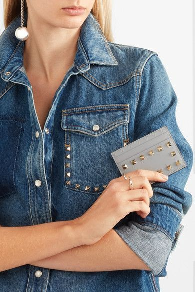 Many Colors Comfortable Rockstud leather cardholder Valentino Countdown Package Sale Online Cheap Best Prices Free Shipping Perfect ArNGPyoeh