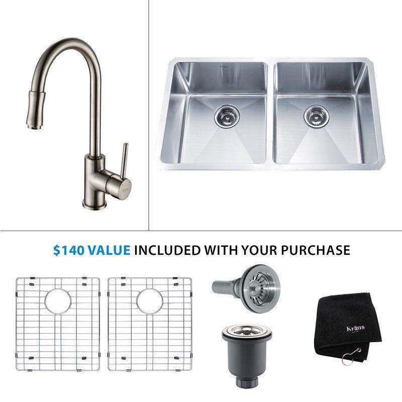 """Kraus KHU102-33-KPF-1622 Kitchen Combo - 32-3/4"""" Undermount Double Basin 16-Gaug Stainless Steel /"""