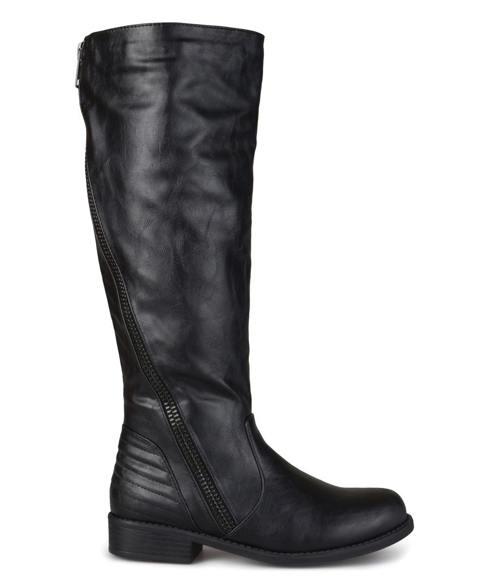 6a531ae7d181 Black Slant Wide-Calf Boot