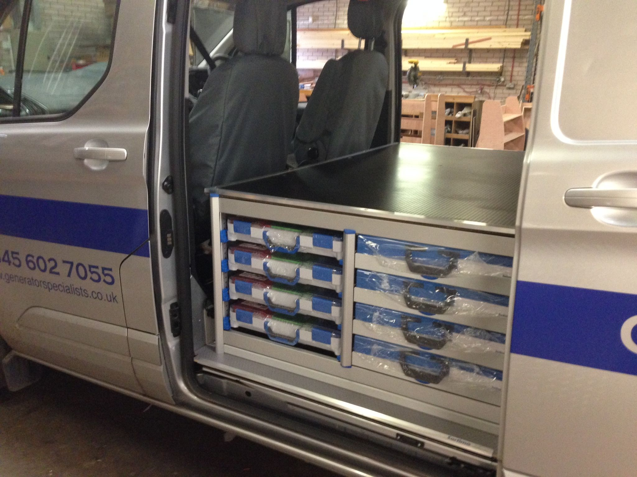 Ford transit custom l2 sortimo t boxx and engineer case system accessible from nearside