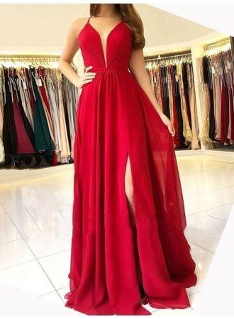 Designer Abendkleider Lang Rot   Festliche Kleidung Chiffon