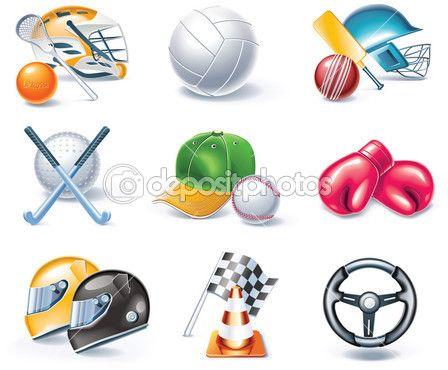 Vector conjunto de ícones de estilo dos desenhos animados. parte 36. esporte