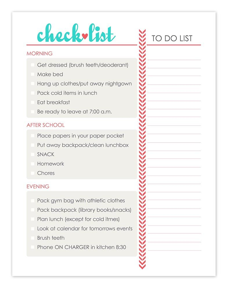 Daily check list daily routine kids daily routine chart