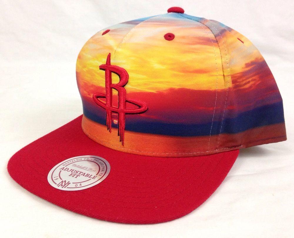 newest 88874 4e068 Houston Rockets Mitchell   Ness Hat Cap Sunset Red Basketball NBA Snapback  NWT  MitchellNess  HoustonRockets  Houston  Rockets  Basketball  Champions   Ebay ...