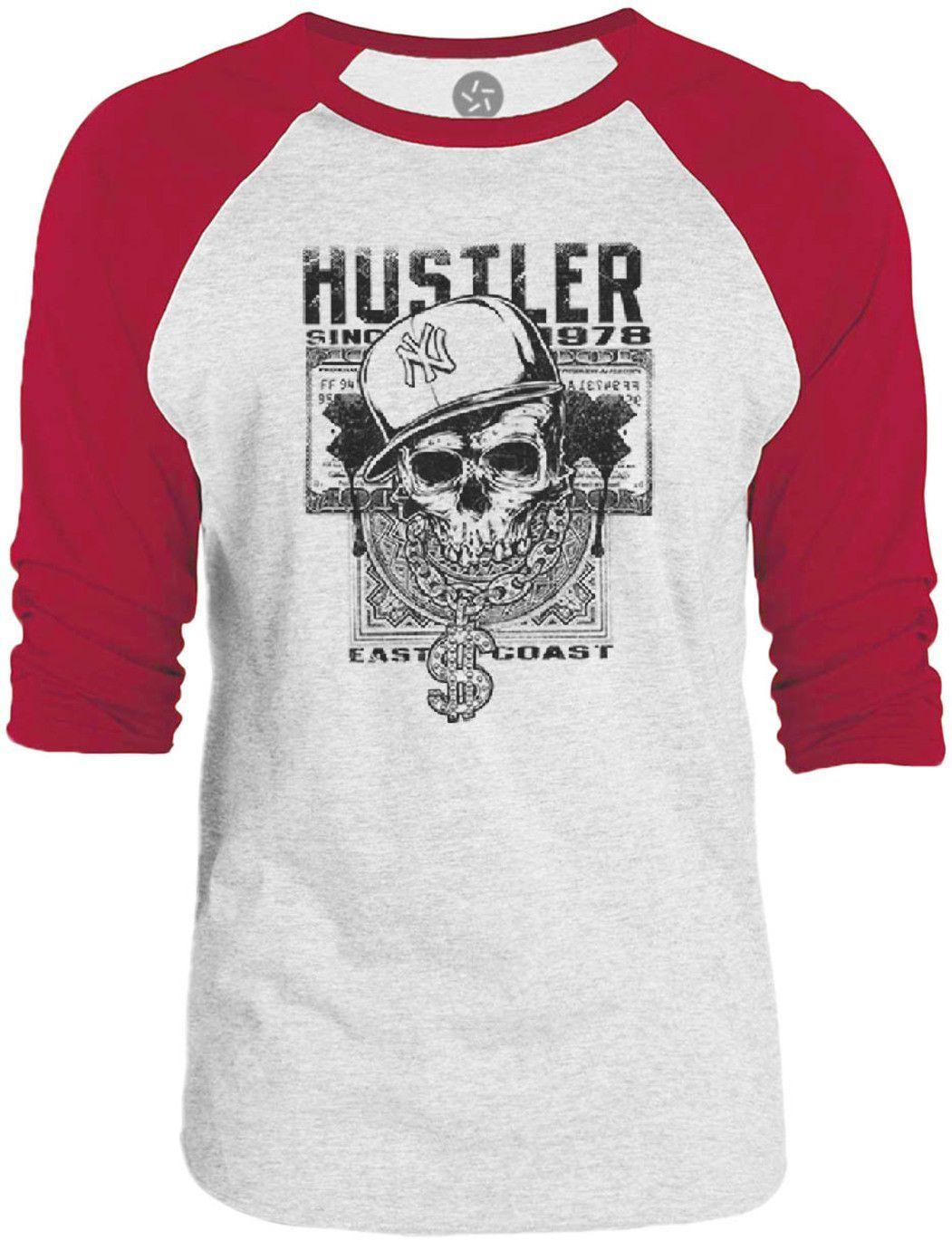 Big Texas East Coast Hustler Skull (Black) 3/4-Sleeve Raglan Baseball T-Shirt