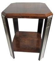 French Art Deco Walnut and Silverleaf Occasional Table