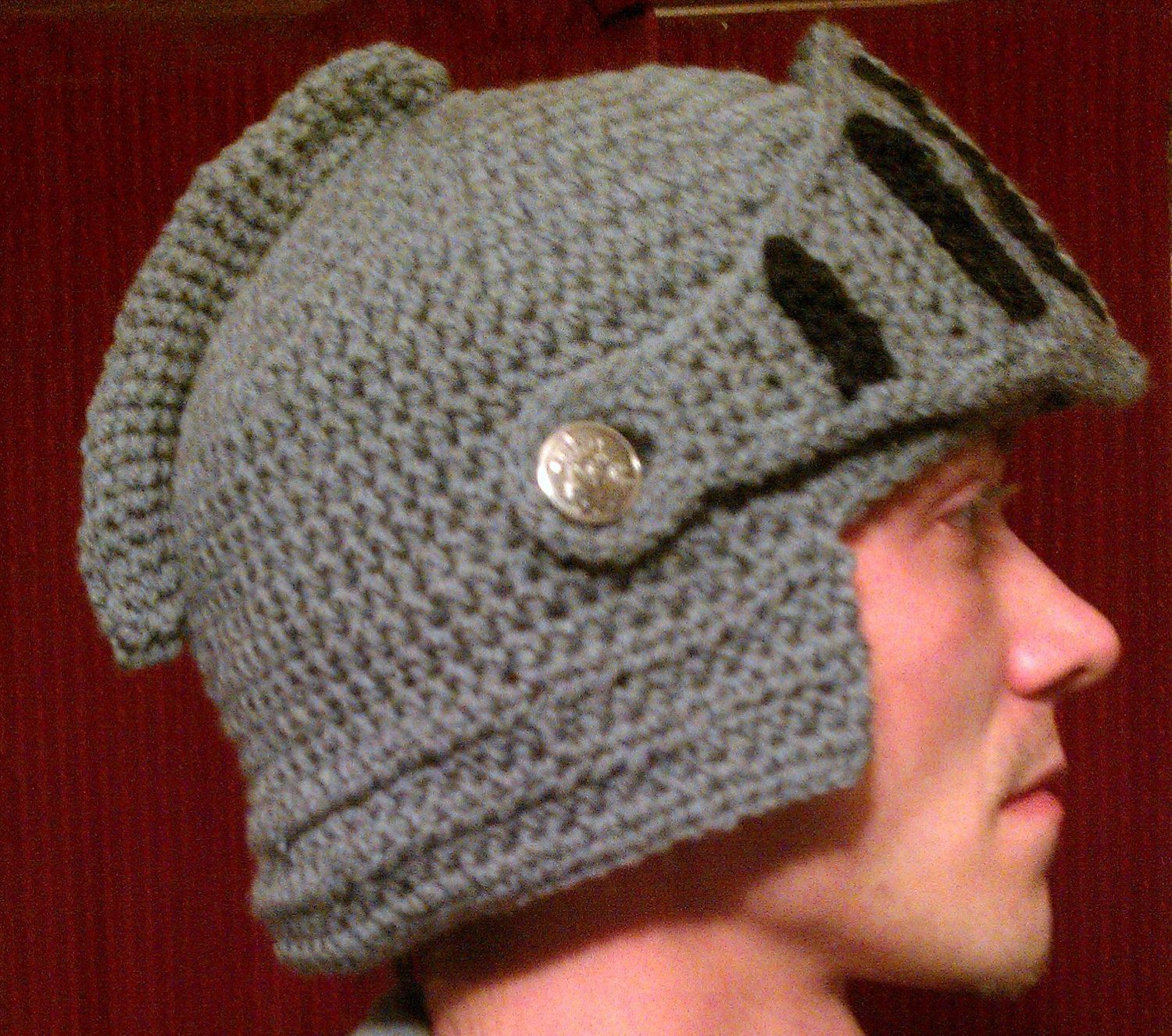 Crochet Knight Helmet hat with moveable visor Child, Adult ...