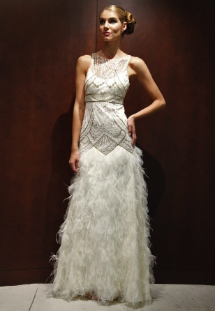 sue wong wedding dress : art deco, with ostrich feathers (like the ...