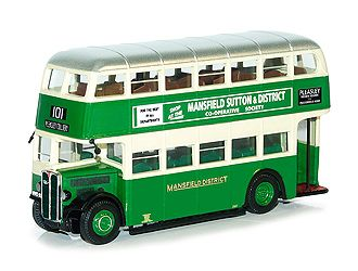 This AEC Regent II Diecast Model Bus is Green and features working wheels. It is made by Corgi and is 1:76 scale (approx. 10cm / 3.9in long).    In 1932 Mansfield District Traction Co Ltd replaced its fleet of trams with 34 AEC Regent IIs. A total of 56 were delivered before the war. A further 40 post war vehicles were fitted with 7.7 diesel engines, crash gearboxes, and carried Weymann H30/26R bodies.  Number 126 modelled here was one of the last batch of 15 delivered in 1947. During the…