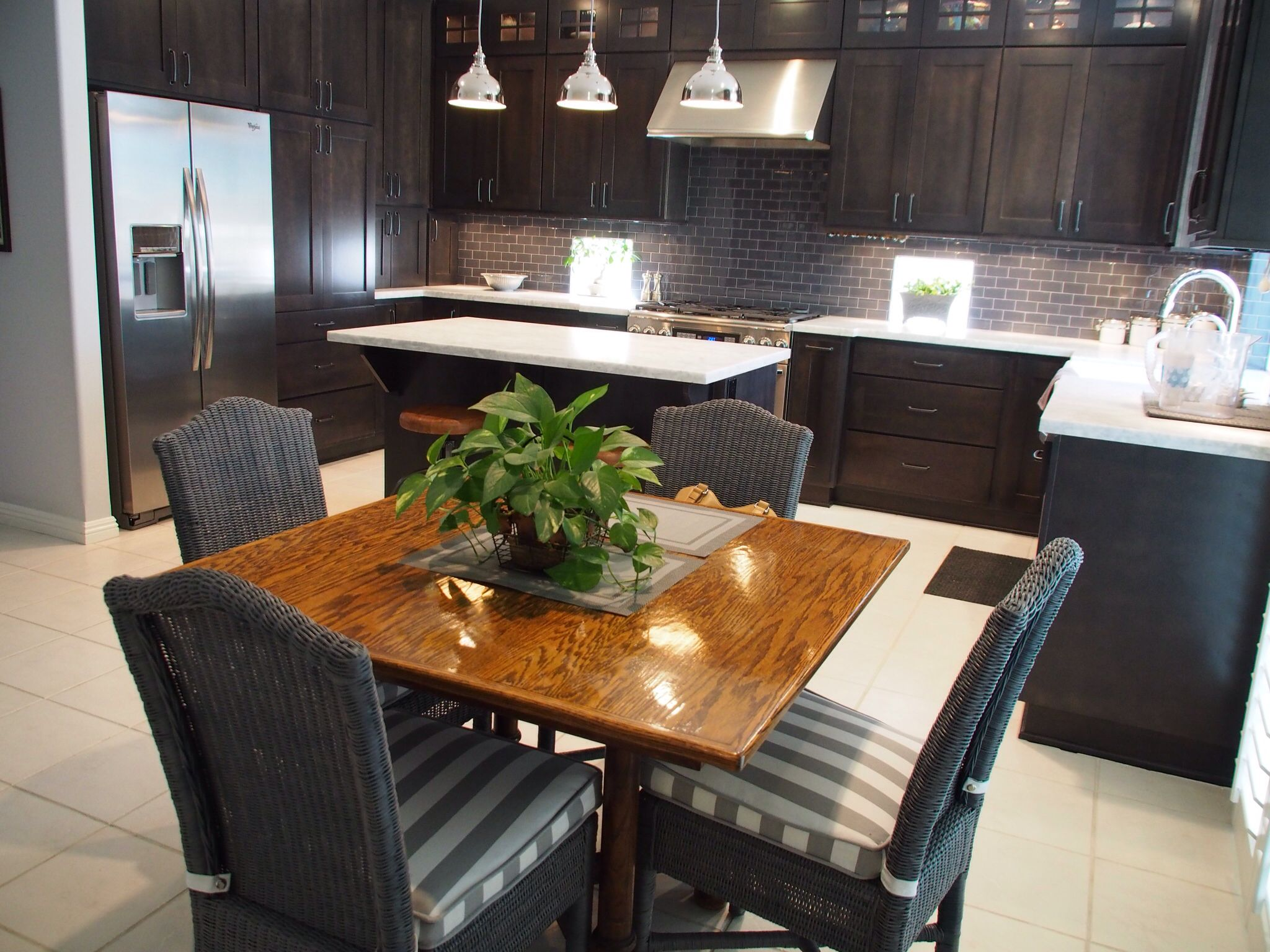 Grey Maple Kitchen Cabinets Project Complete Maple Cabinets Stained Flint Grey Carrara