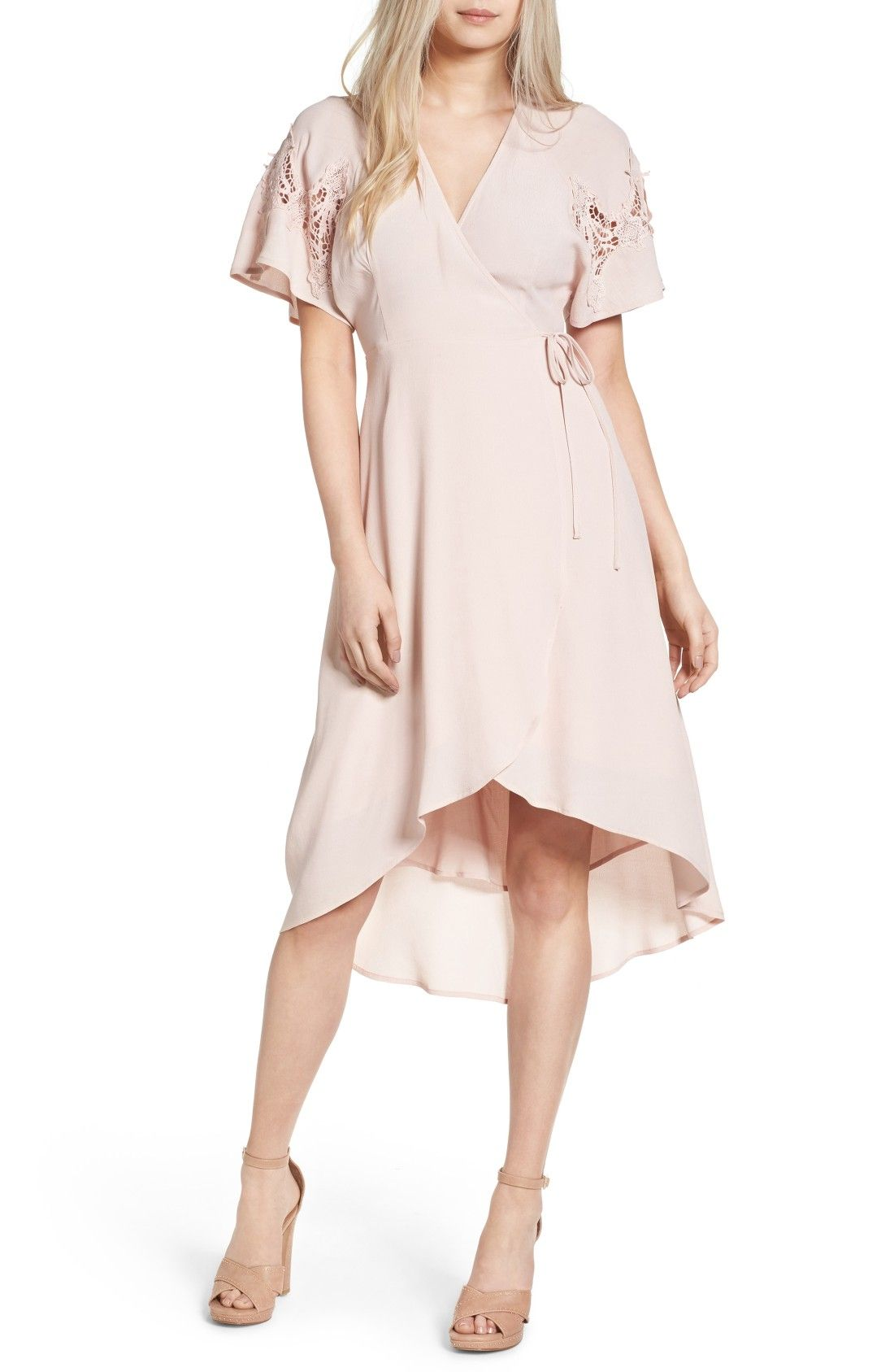 Blush Pink Crochet Sleeve Wrap Dress