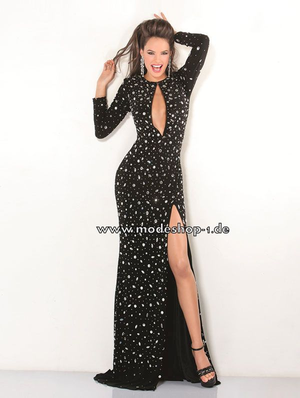 Sexy Cut Out Abendkleid lang in Schwarz 186 € www.modeshop-1.de ...