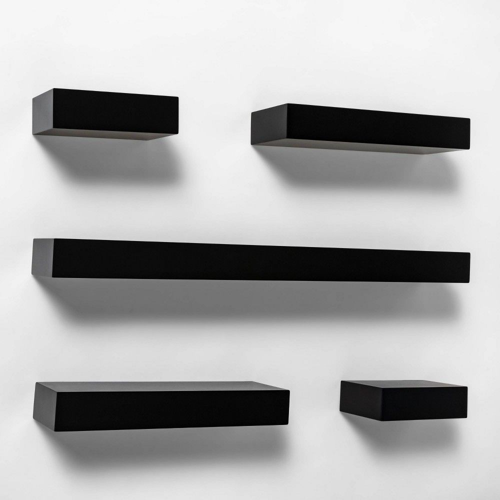 5pc Modern Wall Shelf Set Black Project 62 Modern Wall Shelf