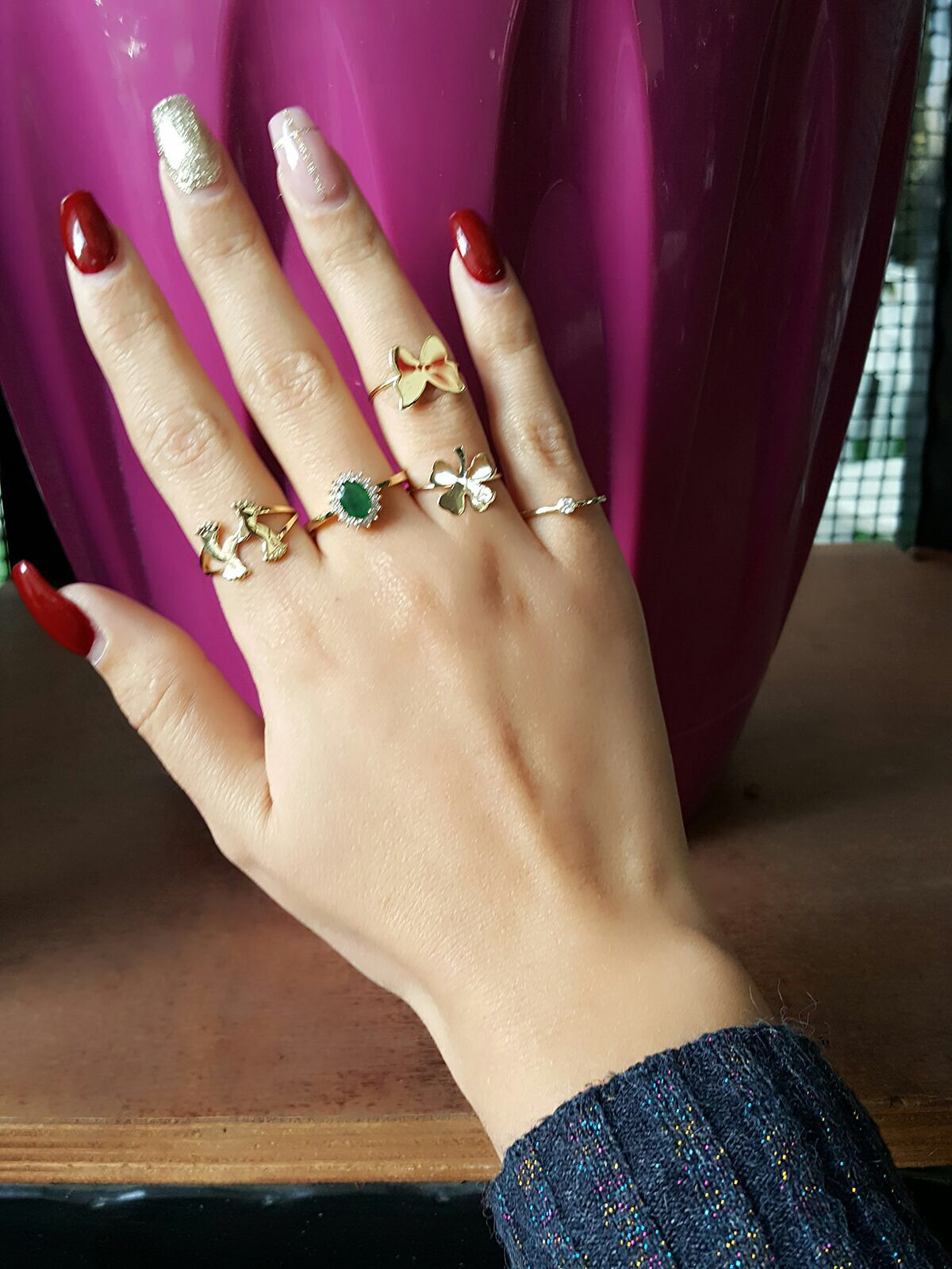 Baby foot ring Emerald Gold Clover Butterfly Stud Solitaire Diamond Ring