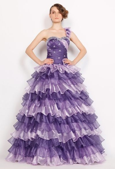 One-Shoulder Flower Beaded Tiered Princess Ball Gown Quinceanera Dress