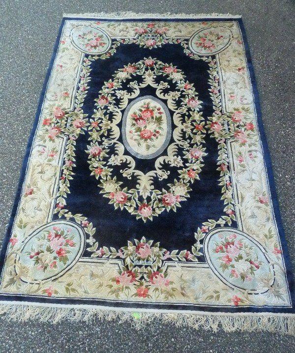 Hand Tied Chinese Oriental Wool Rug In Cobalt Blue Lot 275 Hand Tied Chinese Oriental Wool Rug In Cobalt Blue Rose Oriental Wool Rugs Rugs Colorful Rugs