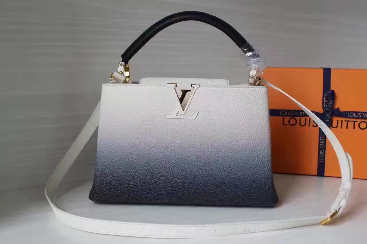 46cb28a5 Louis Vuitton Grained Calfskin Capucines Bag In Gradient Color Gray ...