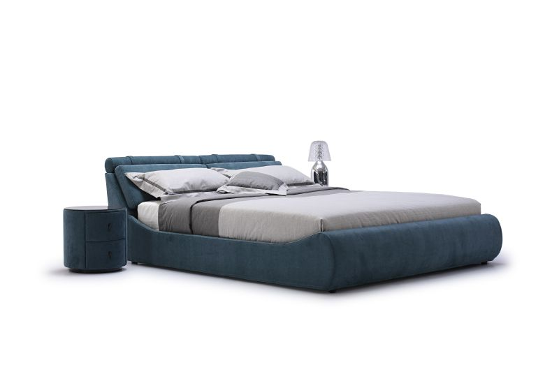 Quality modern bed design with curved lines, handcrafted in a fabric finish: http://www.dslfurniture.com/beds.html