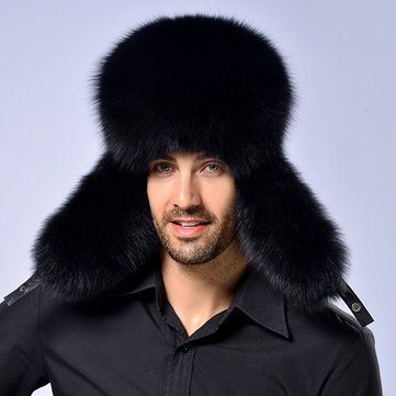 40540d97925 Mens Winter Warm Thick Artificial Fur Hats With Earmuffs Outdoor Skiing  Windproof Russian Caps
