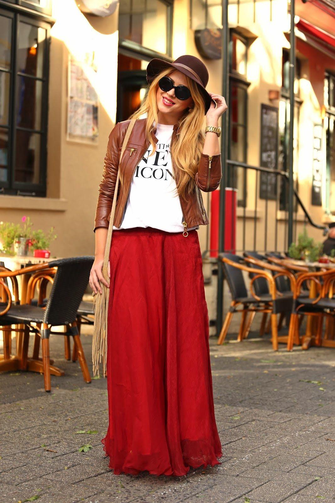 Jacket / basic shirt / maxi red skirt
