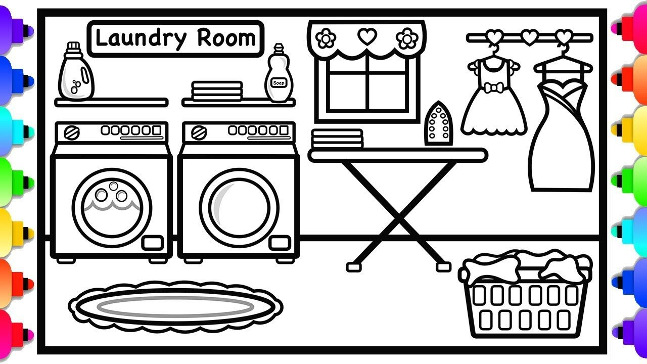 How To Draw A Laundry Room Easy For Kids Laundry Room Doll