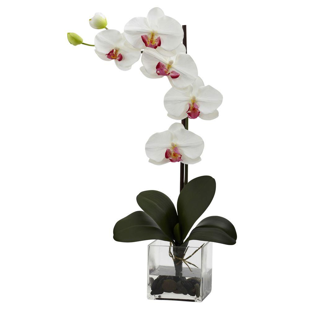 Nearly Natural Giant Phalaenopsis Orchid With Vase Arrangement In White 1324 Wh The Home Depot Orchid Vase Silk Orchids Artificial Orchids