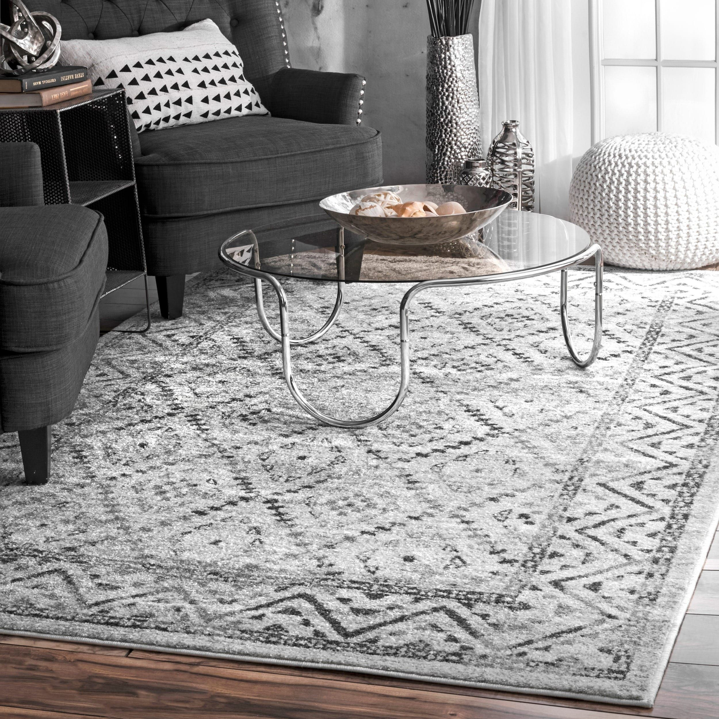 Strick Bolton Zetterlund Traditional Vintage Inspired Tribal Diamond Trellis Border Grey Area Rug 7 6 X 9 6 Products Rugs Cool Rugs Trellis Rug