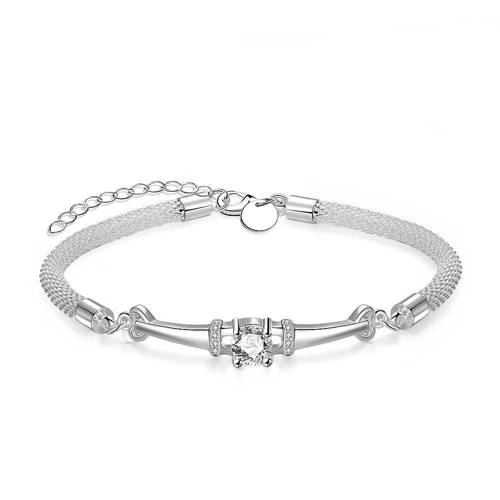 Crystal mesh bracelet in k white gold plated bracelets