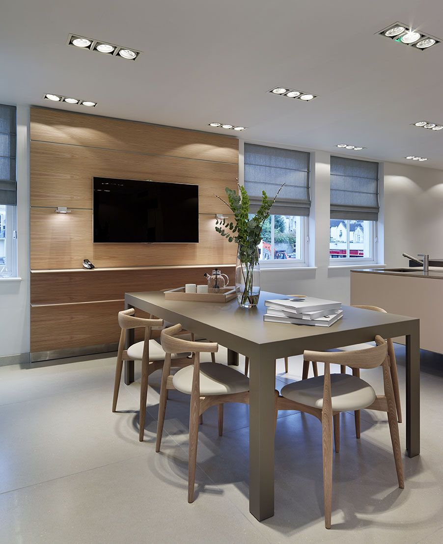 Kitchen Design Showrooms: A Bulthaup Dining Table With Carl Hansen Furniture. #kitchens #tables
