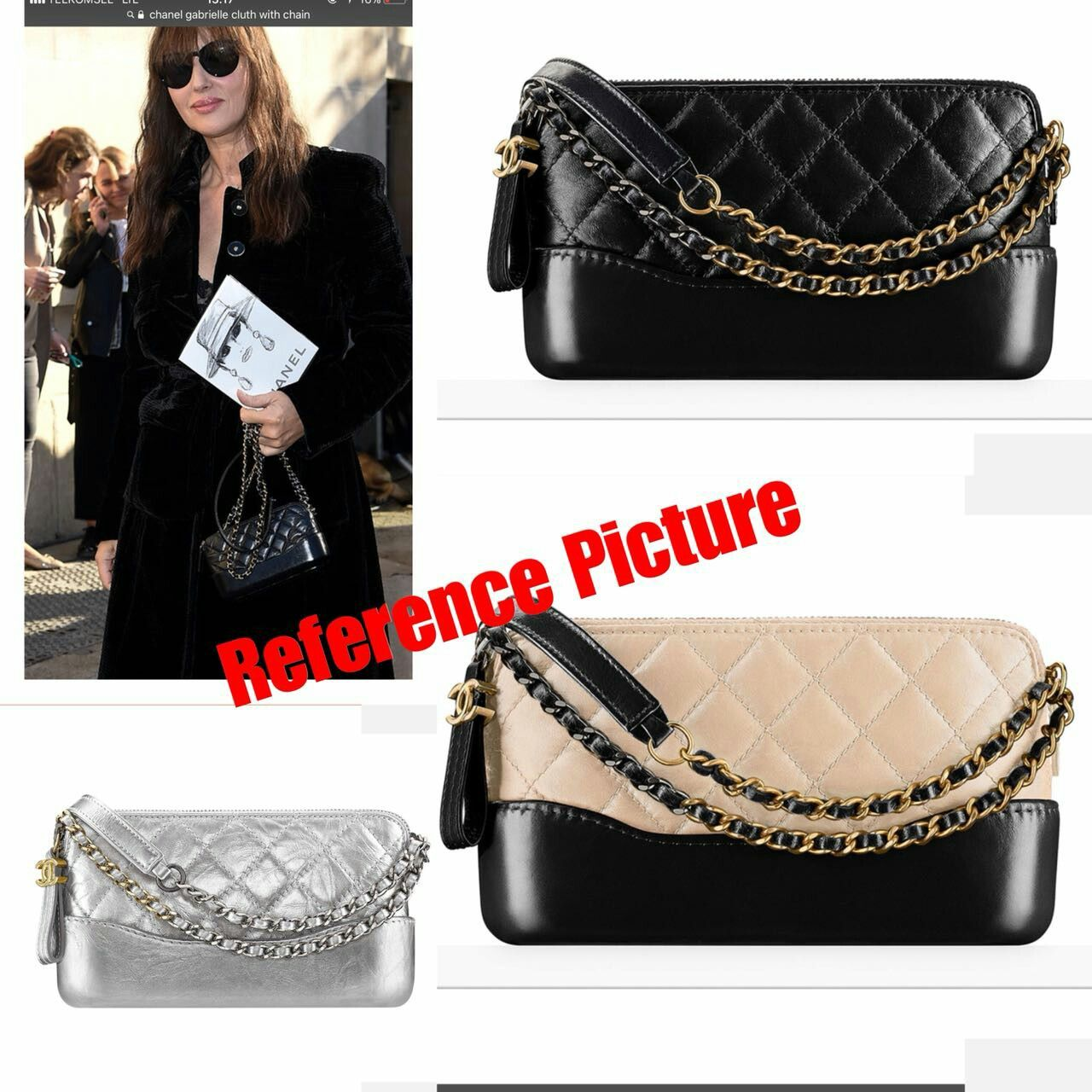 15e7555c756f72 Chanel Gabrielle Cluth with Chain 1163 semipremium Sz: 24x10x15 Bahan kulit  4 colour : Black